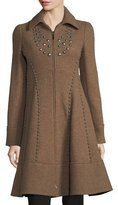 Nanette Lepore Grace Studded Zip-Front Wool Pea Coat