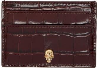 Alexander McQueen Red Croc Skull Card Holder