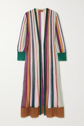 Missoni Metallic Striped Crochet-knit Cardigan - Purple
