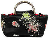 Jacaranda Black Red Satin Printed Small Embellished Satchel Handbag