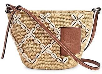 Loewe Paula Pochette Shell- & Leather-Trimmed Raffia Crossbody Bag