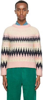 Gucci Pink Zigzag Wool Crop Rave Like Youre Five Sweater