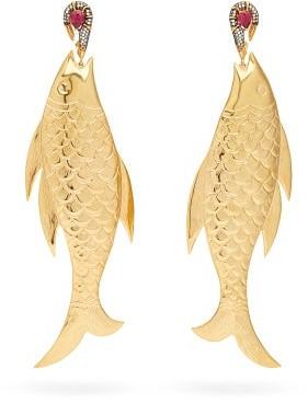 BEGÜM KHAN Bora Bora 24kt Gold-plated Fish Earrings - Red Gold