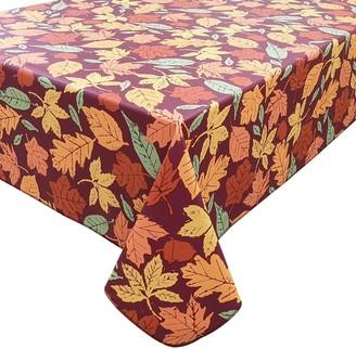 Celebrate Fall Together Harvest Leaf Toss Vinyl Tablecloth