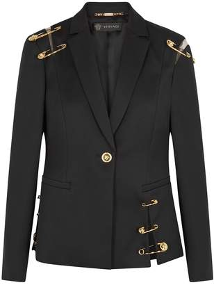 Versace Black Embellished Wool Blazer