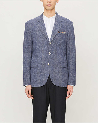 Brunello Cucinelli Single-breasted wool and linen-blend blazer