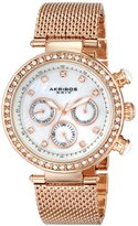 Akribos XXIV Women's AK682RG Lady Crystal-Accented Stainless Steel Watch
