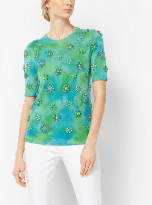 Michael Kors Brooch-Embroidered Cashmere Short-Sleeve Sweater