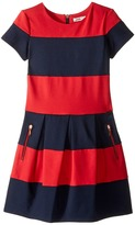 Junior Gaultier Red/Blue Striped Dress Short Sleeves Girl's Dress