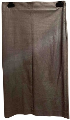 Brunello Cucinelli Grey Leather Skirt for Women