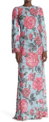 Dolce & Gabbana Floral Print Scallop Woven Maxi Dress