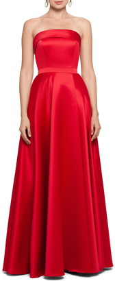 Xscape Evenings Strapless Satin A-Line Gown