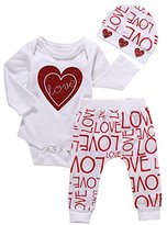 Girls Clothes Set,Haoricu 2017 1Set Toddler Baby Cute Love Print Jumpsuit+Long Pants+Hat Outfits Clothes (12M, White)