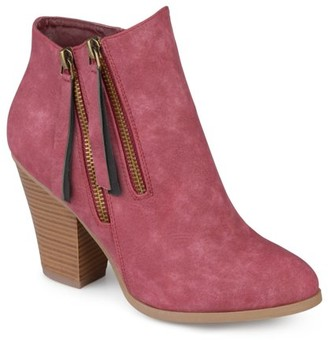 Brinley Co. Women's Faux Suede Stacked Wood Heel Double Zipper Booties