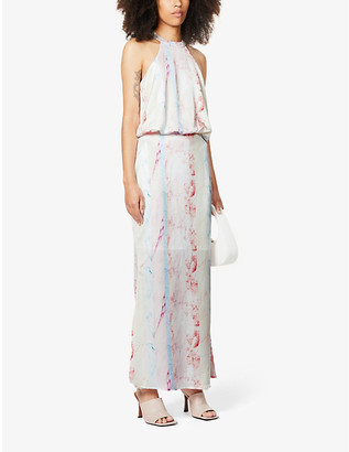 NEVER FULLY DRESSED Vogue marble print satin maxi dress