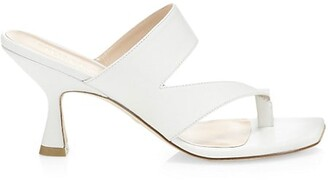 Stuart Weitzman Lyla Leather High-Heel Slide Sandals