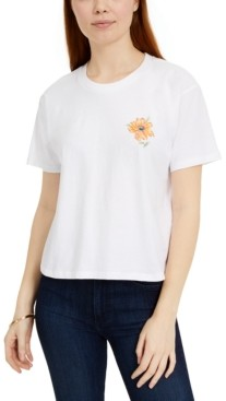 Rebellious One Juniors' Wildflower Foil Back Graphic T-Shirt