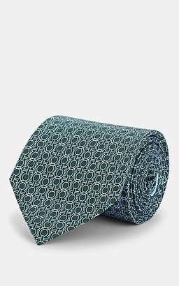 Salvatore Ferragamo Men's Geometric-Gancio-Print Silk Twill Necktie - Green
