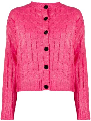 MSGM Cable-Knit Button-Up Cardigan