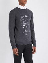 Alexander McQueen Laddered skull wool and cashmere-blend jumper