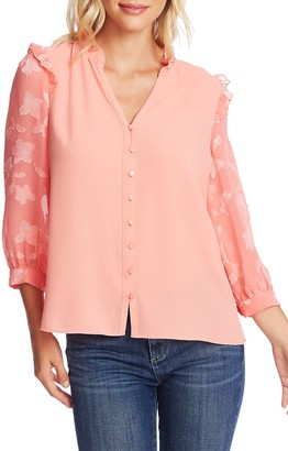 Cece By Cynthia Steffe Three Quarter Floral Jacquard Sleeve Top