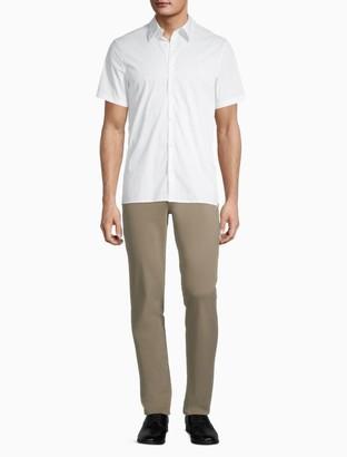 Calvin Klein Stretch Cotton Printed Button-Down Short Sleeve Shirt