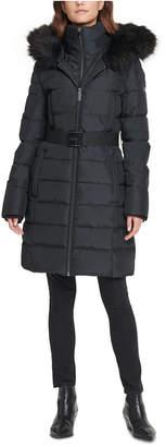 DKNY Iridescent Hooded Faux-Fur-Trim Puffer Coat