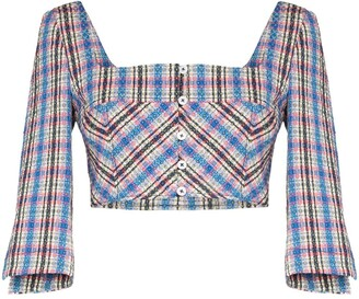 Rosie Assoulin Cropped Plaid Blouse