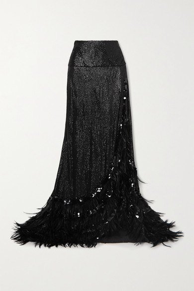 Thumbnail for your product : Dries Van Noten Feather-trimmed Sequined Crepe Maxi Skirt - Black