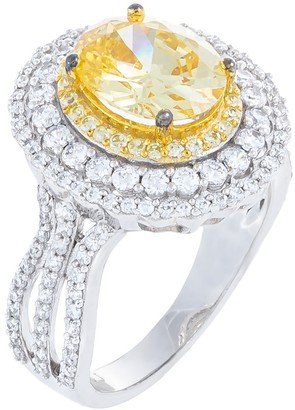 Hidden Gems Jewelry Oval-Cut Yellow Cubic Zirconia Center Cocktail Ring. Sterling Silver