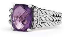 David Yurman Petite Wheaton® Ring With Amethyst And Diamonds