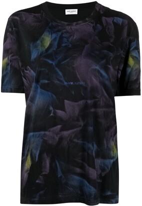 Saint Laurent tie-dye print logo T-shirt