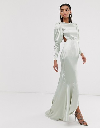 Asos Edition EDITION satin fishtail maxi dress with dramatic sleeve-Green