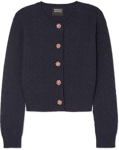 Markus Lupfer Harper Crystal-embellished Cable-knit Wool Cardigan - Navy