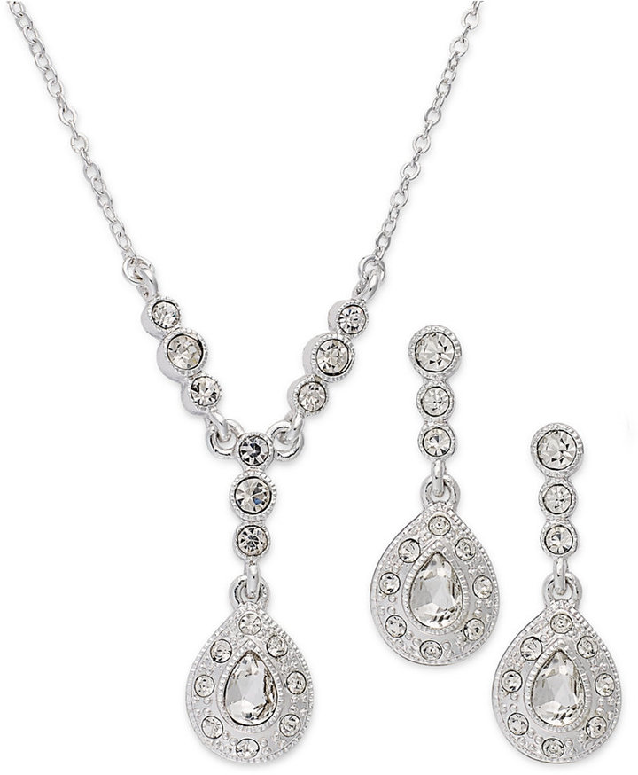 Charter Club Silver-Tone Crystal Pendant Necklace and Drop Earring Jewelry Set