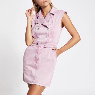 River Island Pink peaked shoulder denim mini dress