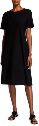 Eileen Fisher Plus Size Crewneck Washable Stretch Crepe Midi Dress