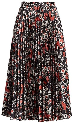 Saloni Kim Floral Cobblestone Pleated Midi A-Line Skirt