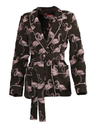 For Restless Sleepers Brown And Pink Flamingo Print Smoking Jacket