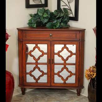URBAN RESEARCH Homeroots 32' Mahogany Veneer Wood Mirrored Glass Corner Cabinet with a Drawer and 2