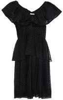 Ganni Jasmine Tiered Ruffled Flocked Tulle Mini Dress