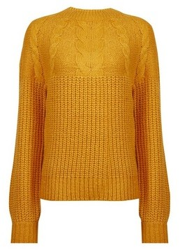 Dorothy Perkins Womens Yellow Cable Jumper, Yellow