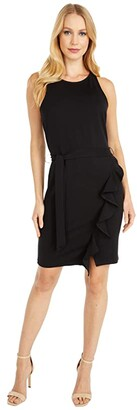 BB Dakota Ponte Dress with Wrap Skirt (Black) Women's Clothing