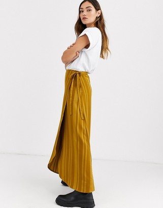 Ichi stripe jacquard wrap skirt