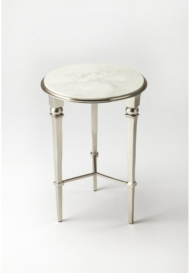 Thumbnail for your product : Butler Handmade Darrieux White and Silvertone Iron and Aluminum End Table