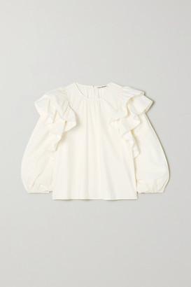 Ulla Johnson Caasi Ruffled Cotton-poplin Blouse - White