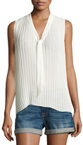 Frame Pleated Sleeveless Tie-Neck Blouse, Off White