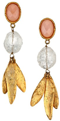 Sylvia Toledano Crystal Vibes 22K Goldplated, Pink Quartz & Crystal Drop Earrings