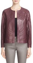 Lafayette 148 New York Women's Callia Laser Cut Lambskin Leather Jacket