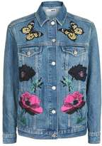 Topshop Moto floral applique jacket